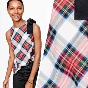 J.CREW HOLIDAY PLAID/TARTAN BOW SWING TOP SIZE 0